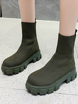 New Solid Knitting Wedge Ankle Boots Women