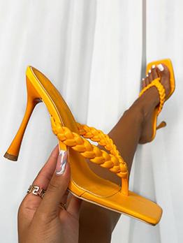 New Square Toe Weaving Slip On Heels