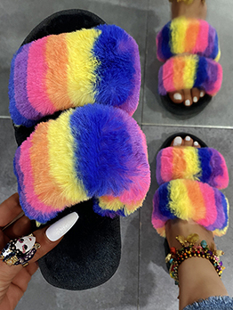 House Contrast Color Round Toe Ladies Slippers