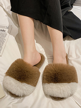 Casual Contrast Color Round Toe Fluffy Slippers