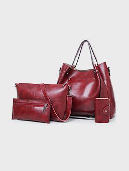 PU Travel Zipper 4 Piece Handbag Sets