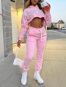 Letter Printed Fashion Casual Hoodies Trouser Set