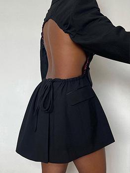 Sexy Backless Notch Collar Long Sleeve Dress