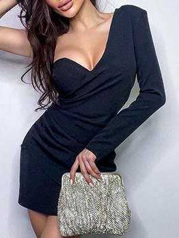 Fashion One Shoulder Long Sleeve Bodycon Dress