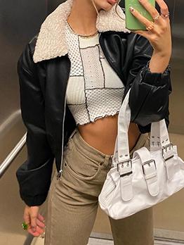 Cool Black Zipper Down PU Leather Short Coat