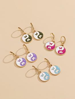 Simple Contrast Color Butterfly Taiji Earrings