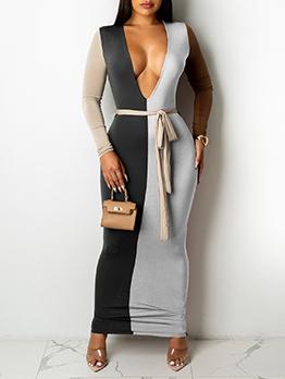 Sexy V Neck Long Sleeve Maxi Dress