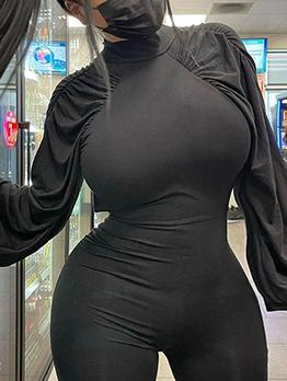 Mock Neck Black Skinny Long Sleeve Jumpsuits