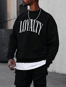 Hip Hop Letter Long Sleeve Sweatshirt For Men