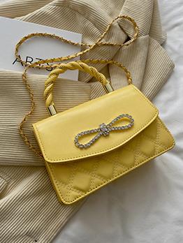 Korean Rhombus Lattice Bow Rhinestone  Shoulder Handbag