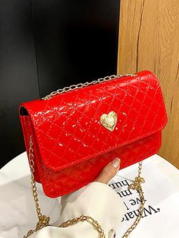 Euro Style Rhombus Lattice Faux Pearl Chain Shoulder Bag