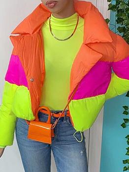 Contrast Color Design Stylish Winter Cotton Coat