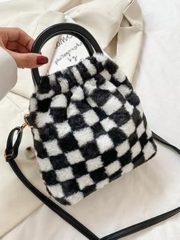 Street Winter Grid Open Bucket Handbag For Women