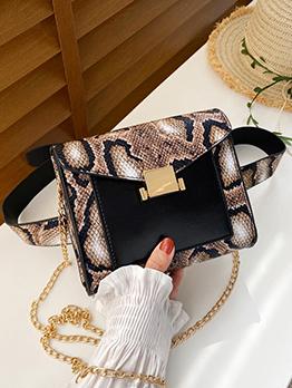 Chic Snake Printed Solid Chain Shoulder Waist Bag