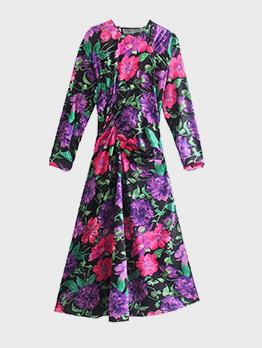 Vacation Pleated Flower Printed Long Sleeve Midi Dress