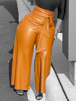 Latest Style Stylish High Waist Pu Long Pants