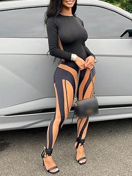 Sexy Contrast Color 2 Piece Long Pant Sets