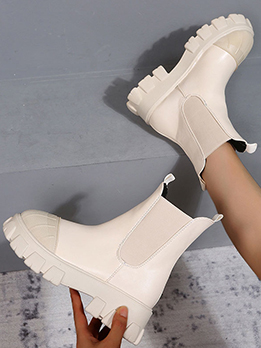 Fashion Wedge Round Toe Chelsea Boots