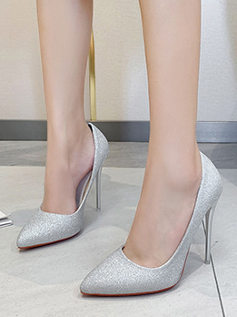 New Sequined Point Toe Slip On Heels
