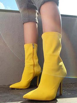 Popular Solid Zipper Point Toe Heels Boots