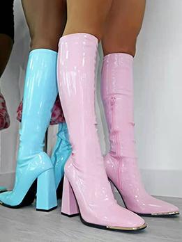 Fashion Solid Zipper Design Chunky Women Boots