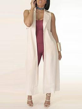 Modern Solid Sleeveless Long Coat For Women