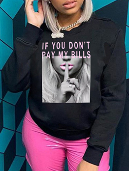 Easy Matching Printed Letter Women Sweatshirts