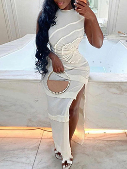 Personality Ruched Slit Design Sleeveless Maxi Dress