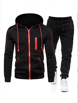 New Contrast Color Hooded Workout Wear