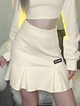 Easy Matching Apricot Ruffles Patchwork Zipper Short Skirt
