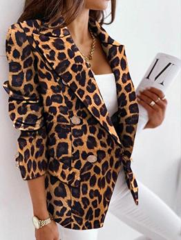 Fashion Leopard Button Down Long Sleeve Blazers