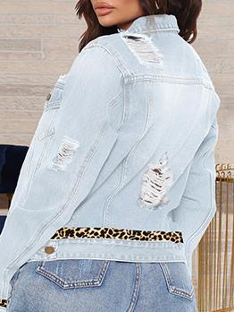 Leopard Patchwork Fashion Plus Size Jacket