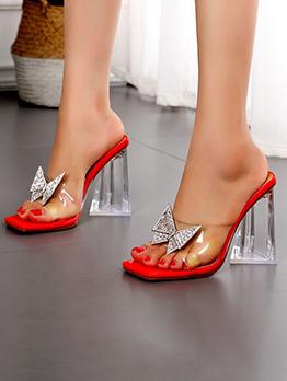 Bowknot Rhinestone Chunky Heel Slippers