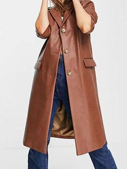 Cool Solid Long Sleeve Notch Collar Pu Coat