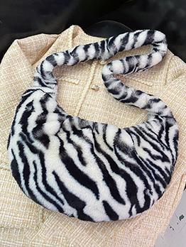 Casual Winter Soft Animal Printed Zebra Shoulder Bag