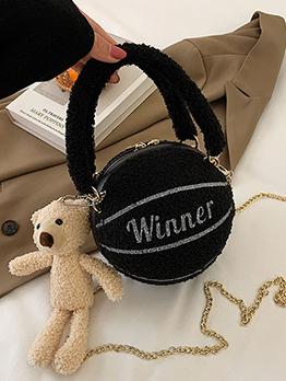 Chic Round  Ball Shape Chain Bear Pendant Shoulder Bag