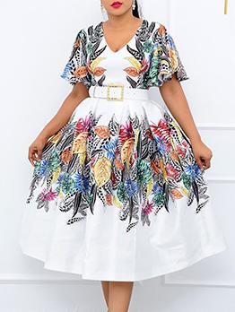 National Style V Neck Short Sleeve Midi Dresses