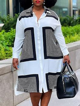 Casual Contrast Color Long Sleeve Plus Size Dress