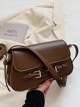 Vintage Pure Color Shoulder Bag For Women