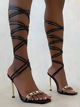 Sexy Rhinestone High Heels Lace Up Sandals