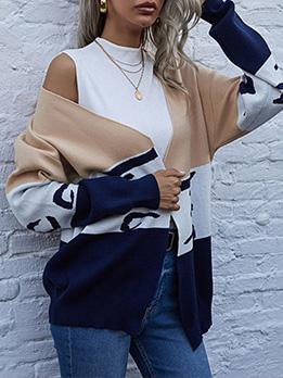 V Neck Contrast Color Cardigan Sweater