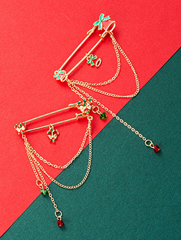 Adorable Bell Bow Chain Christmas Brooch