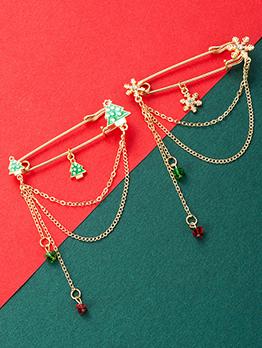 Christmas Tree Snowflakes Chain Christmas Brooch