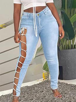 Popular Bandage Design Plus Size Denim Jeans