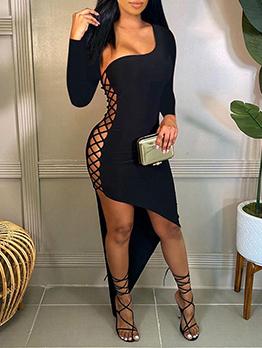 Night Club Black Hollow Out Maxi Dress