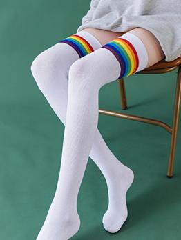 New Arrival Rainbow Over The Knee Socks