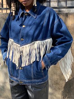 Tassel Casual Fashion Plus Size Denim Jacket