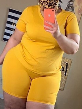 Solid Color Casual Plus Size Two Pieces Set