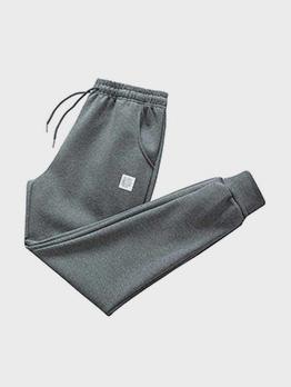 Autumn Plush Patchwork Long Pants For Men