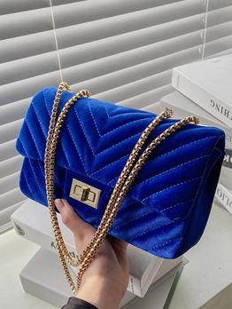 Fashion Solid Chain Lock Shoulder Bags